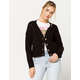 IVY & MAIN Button Front Pointelle Black Womens Cardigan