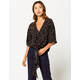 IVY & MAIN Floral Tie Front Black Womens Top