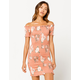 HEART & HIPS Smocked Peach Off The Shoulder Dress
