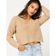 RETROD V-Neck Cream Womens Crop Sweater
