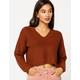 RETROD V-Neck Cinnamon Womens Crop Sweater