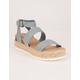 SODA Ankle Banded Baby Blue Womens Espadrille Flatform Sandals