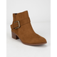 QUPID Buckle Brown Womens Booties