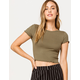 BOZZOLO Ribbed Lettuce Edge Olive Womens Crop Tee