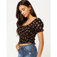 SKY AND SPARROW Ditsy Smocked Black Womens Crop Top
