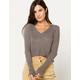 FULL TILT Pointelle V-Neck Gray Womens Crop Knit Top
