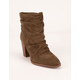 QUPID Ruched Khaki Womens Booties