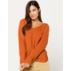 SKY AND SPARROW Twist Bar Back Rust Womens Sweater