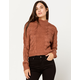 WOVEN HEART Open Text Mock Neck Rust Womens Crop Sweater