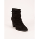 QUPID Ruched Black Womens Booties