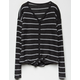 WHITE FAWN Stripe Button & Tie Front Charcoal Girls Thermal