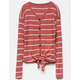 WHITE FAWN Stripe Button & Tie Front Rust Girls Thermal