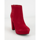 DELICIOUS Faux Suede Ankle High Heel Womens Boot