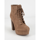 DELICIOUS Lace-Up High Stack Womens Booties