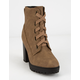 SODA Lug Sole Lace Up Eyelet Taupe Womens Booties