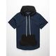ELWOOD Color Block Navy Mens Hooded T-Shirt