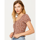 IVY & MAIN Square Neck Button Peplum Rust Womens Top