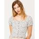 IVY & MAIN Square Neck Button Peplum Cream Womens Top
