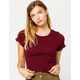 SKY AND SPARROW Solid Smocked Wine Womens Tee