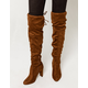 WILD DIVA Over The Knee Heeled Brown Womens Boots
