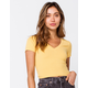 DESTINED Ribbed V-Neck Womens Mustard Crop Tee