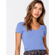 DESTINED Ribbed V-Neck Womens Blue Crop Tee
