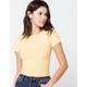 DESTINED Wide Rib Knit Womens Yellow Tee