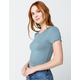 DESTINED Ribbed Lettuce Edge Womens Blue Crop Tee