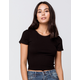 DESTINED Picot Trim Rib Womens Black Tee