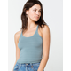 DESTINED Basic Ribbed Womens Blue Crop Tank Top