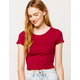 BOZZOLO Ribbed Lettuce Edge Cranberry Womens Crop Tee