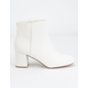 DELICIOUS Clean Ankle Stacked White Womens Boots