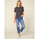 AMUSE SOCIETY Selena Blue Denim Womens Ripped Crop Jeans