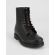 QUPID PVC Lace-Up Womens Combat Boots