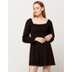 IVY & MAIN Smocked Square Neck Puff Sleeve Dress