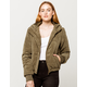 SKY AND SPARROW Corduroy Hooded Womens Bomber Jacket