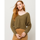 SKY AND SPARROW Matte Chenille V-Neck Olive Womens Crop Dolman Sweater