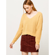 SKY AND SPARROW Matte Chenille V-Neck Yellow Womens Dolman Sweater