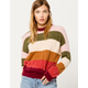 COCO & JAIMESON Stripe Fuzzy Womens Sweater