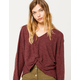 COCO & JAIMESON Twist Front Knit Womens Top