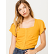 SKY AND SPARROW Square Neck Button Womens Top