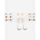 FULL TILT 9 Pairs Tri/Pearl Earrings