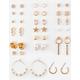 FULL TILT 20 Pair Pearl Hoop & Star Earring Set