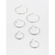 FULL TILT 3 Pack Rhinestone Silver Hoop Set