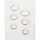 FULL TILT 3 Pack Rhinestone Gold Hoop Set