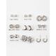 FULL TILT 9 Pairs Moon/Mini Rhinestone Hoop Earrings