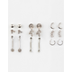 FULL TILT 9 Pairs Mini Hoop/Rhinestone Earrings