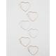 FULL TILT 3 Pairs Heart Hoop Earrings