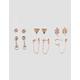 FULL TILT 6 Pair Leaf & Triangle Earring Set