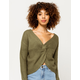SKY AND SPARROW Twist Front Olive Womens Pullover
